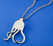 Spoonman Treble Clef and Heart Curled Fork Necklace